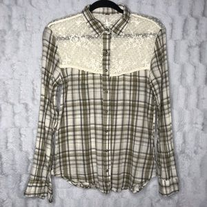 Free People Lace Plaid Button Down Long Sleeve Top